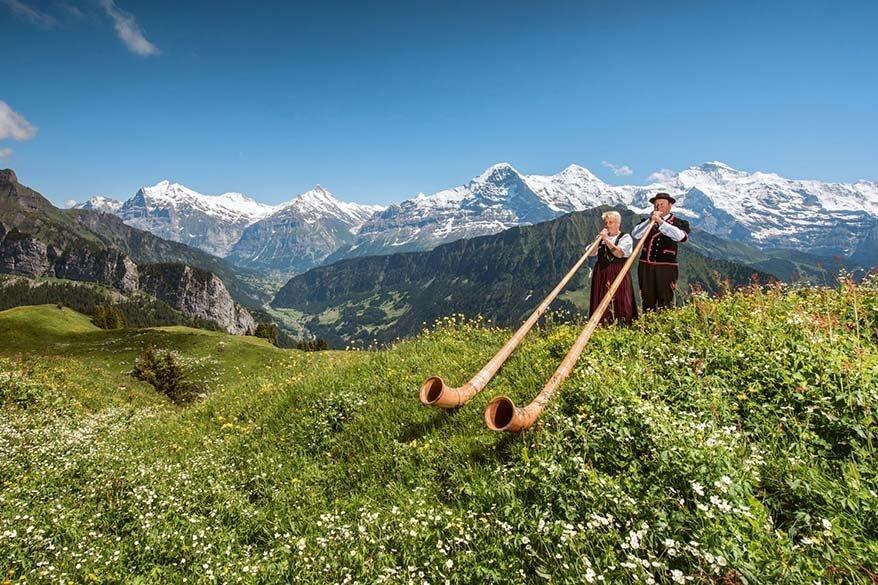 Alphorn players at Schynige Platte in Switzerland