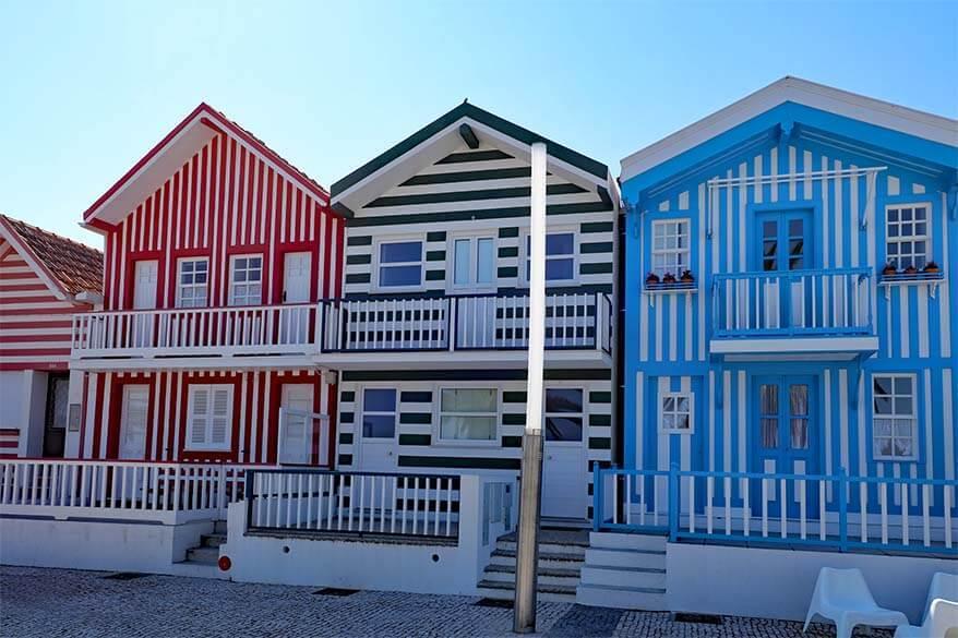 Costa Nova - colorful small town in Portugal