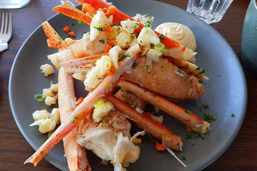 Crab for dinner at Ilulissat hotel restaurant