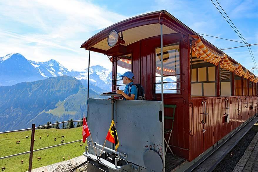 Historic Belle Epoque train at Schynige Platte in Switzerland