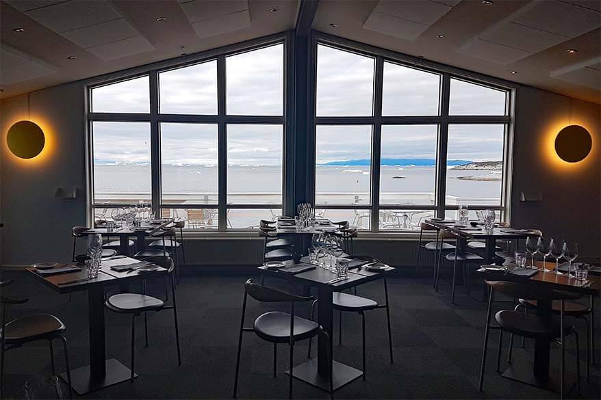 Ilulissat Hotel Icefiord restaurant with sea views of Disko Bay