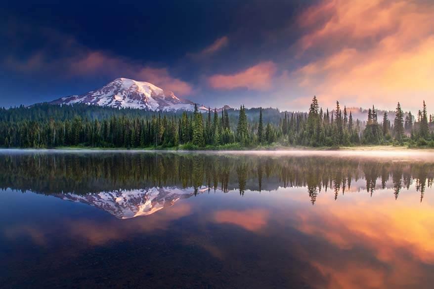 Mount Rainier reflections at sunrise