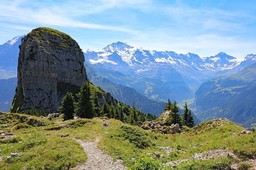 Mountain peaks of Jungfrau Region as seen from Daube Viewpoint at Schynige Platte