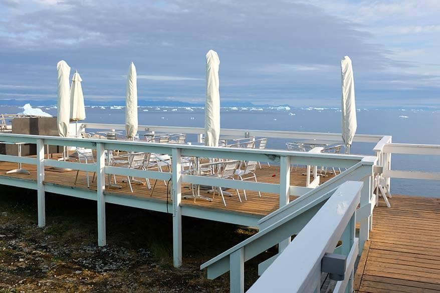 Outdoor restaurant terrace at Ilulissat Hotel Icefiord