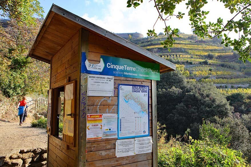 Ticket checkpoint on a Cinque Terre hiking trail