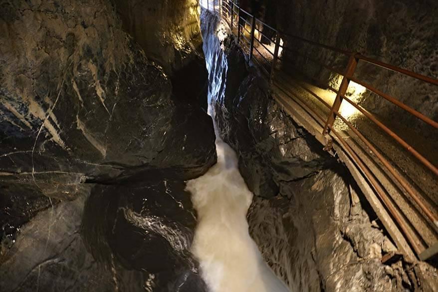 Trummelbach Falls inside the mountain