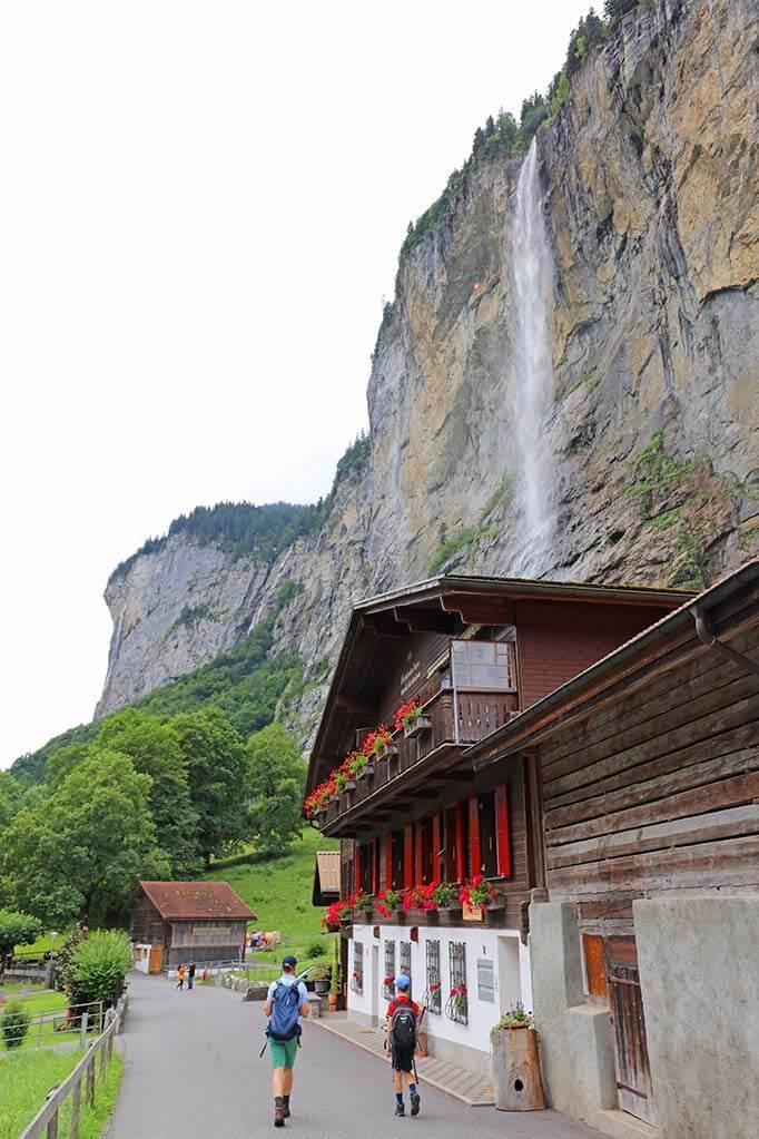 Walking from Lauterbrunnen to Staubbach Falls