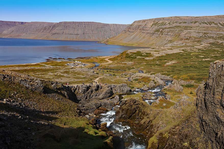 Arnarfjordur fjord and Dynjandisa river in the Westfjords in Iceland
