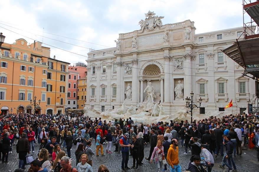 Crowds at the Trevi Fountain in Rome