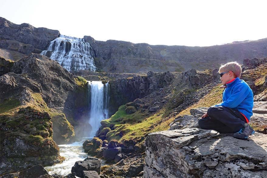 Dynjandi waterfall with kids