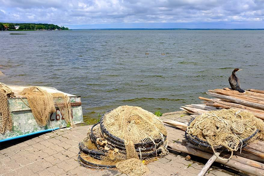 Fishing nets in Juodkrante at the Curonian Lagoon in Lithuania