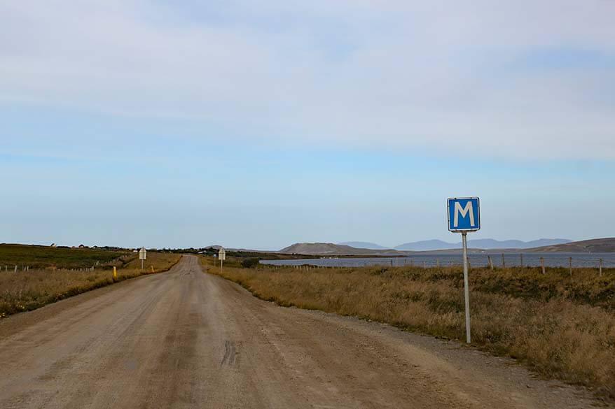 Gravel road 711 to Hvitserkur in Iceland