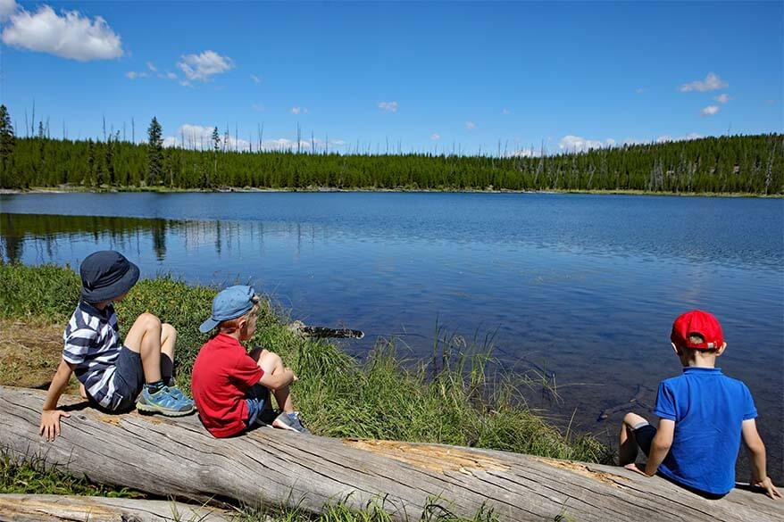 Kids at the Ice Lake in Yellowstone