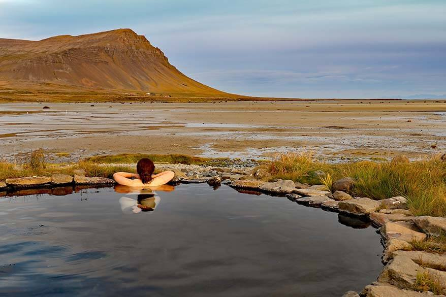 Natural hot tub at Birkimelur Swimming Pool in the Westfjords in Iceland
