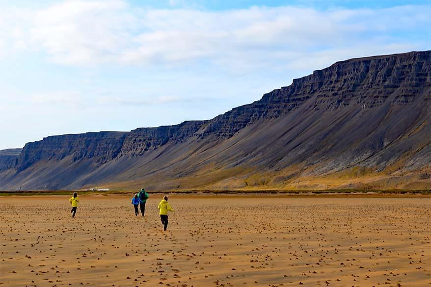 Kids at Raudisandur beach in the Westfjords