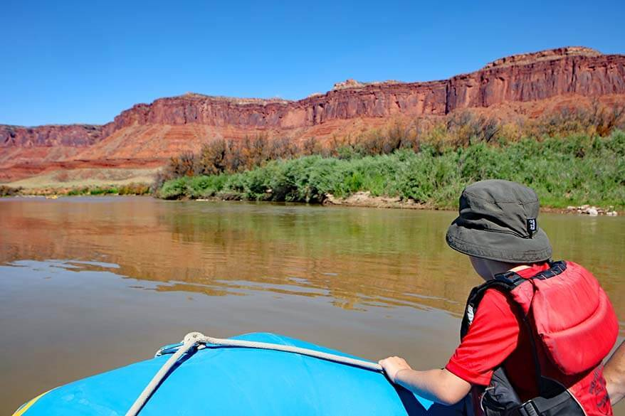 Rafting in Moab with kids
