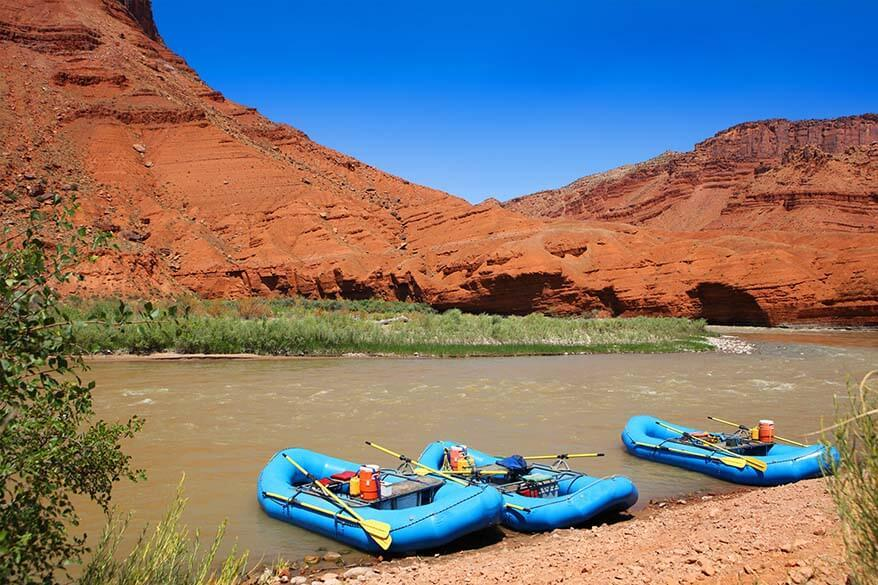 Rafts on Colorado River in Moab