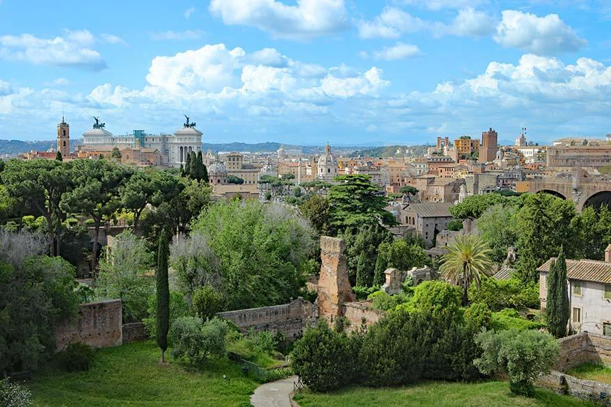 Rome cityscape as seen from the Palatine Hill