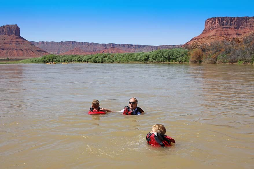 Swimming in Colorado River during Moab rafting trip