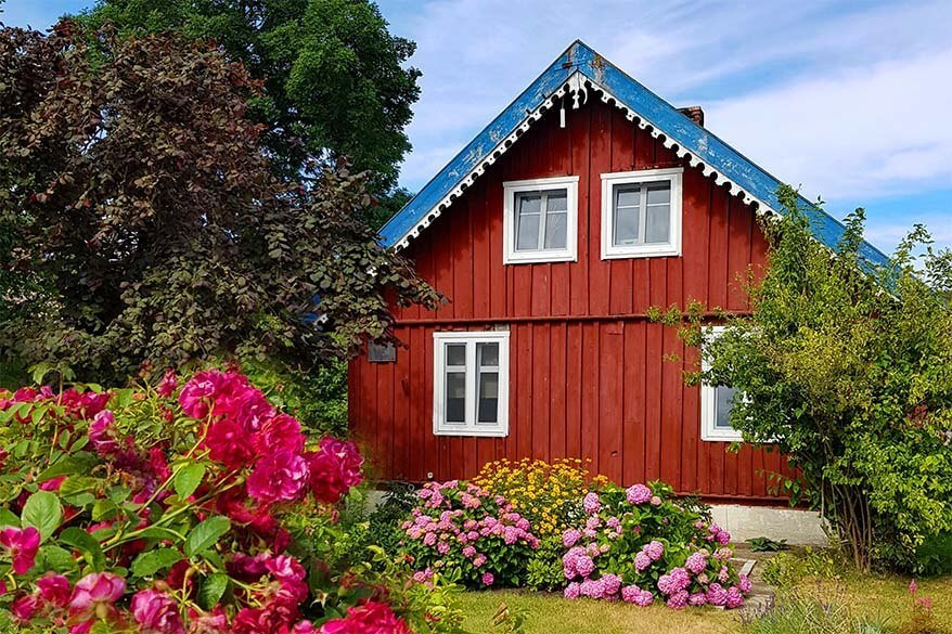 Traditional wooden house on the Curonian Spit in Lithuania