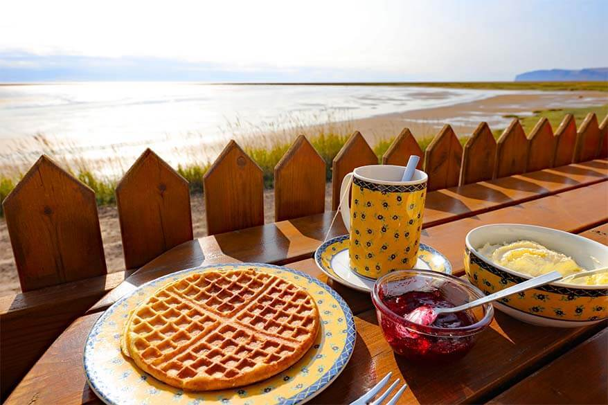 Waffles at Franska Kaffihusid in the Westfjords