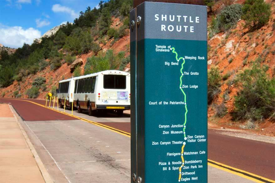 Zion shuttle route
