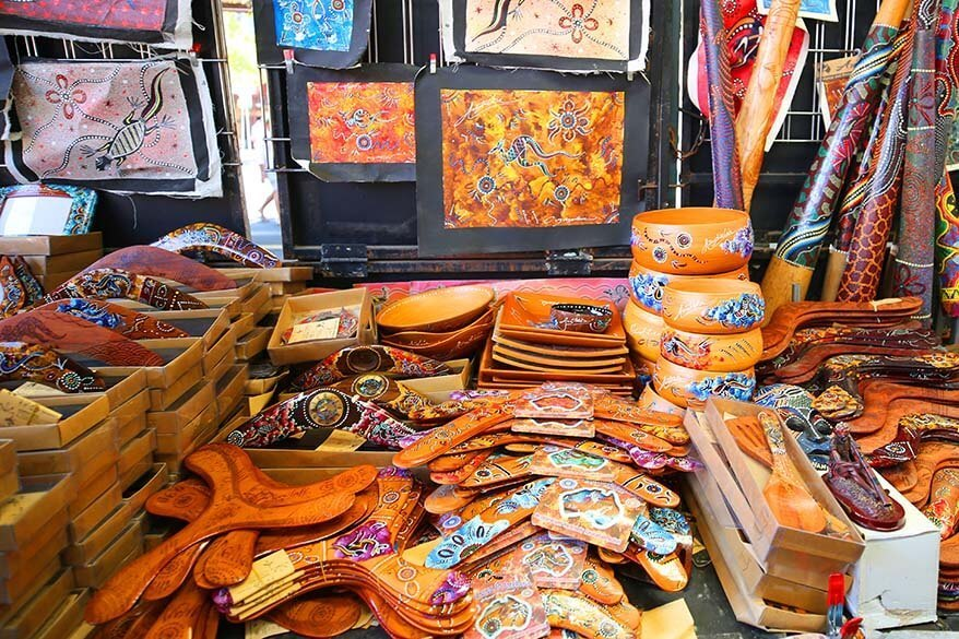 Aboriginal art and souvenirs for sale at the Queen Victoria Market in Melbourne