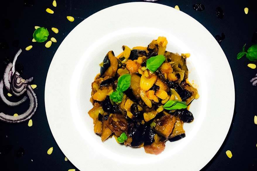 Caponata - traditional dish from Sicily in Italy