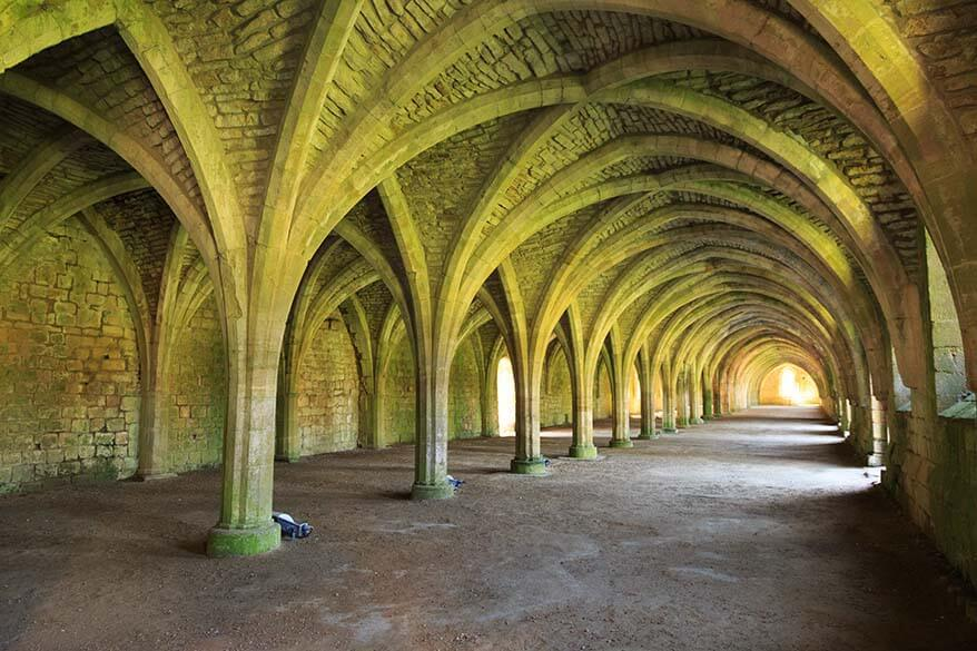 Cellarium at Fountains Abbey in Ripon North Yorkshire