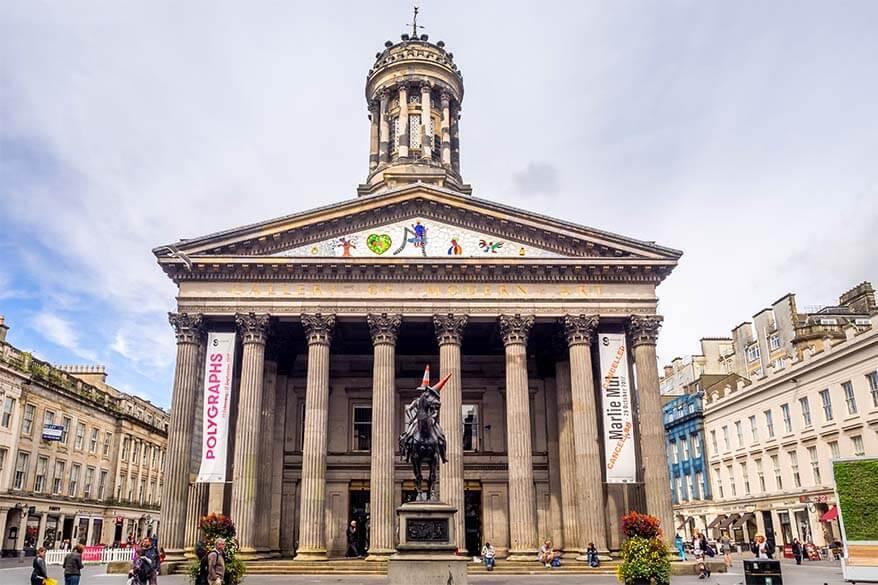Gallery of Modern Art and Duke of Wellington Statue in Glasgow