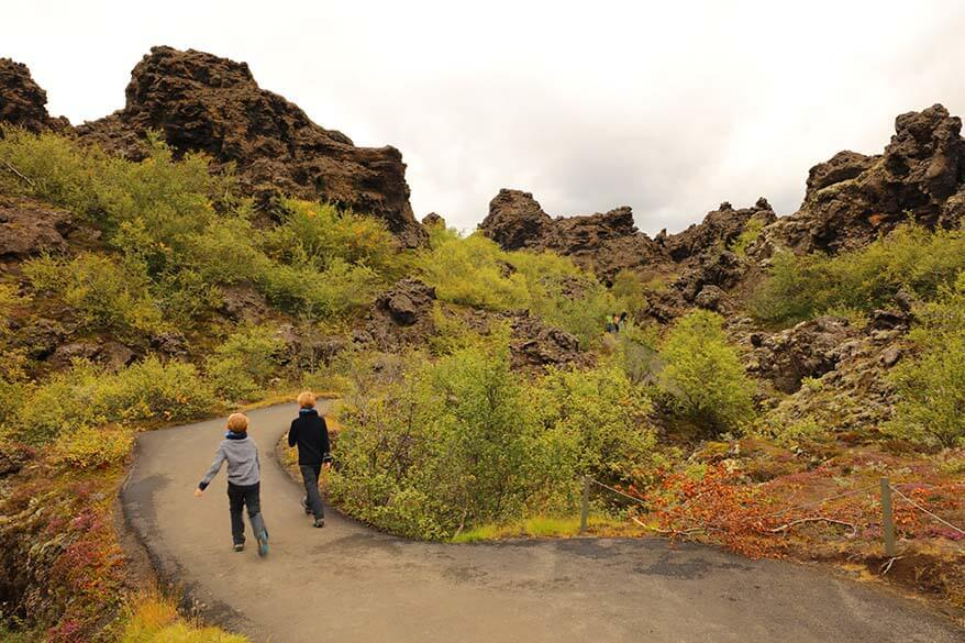 Kids hiking at Dimmuborgir in North Iceland