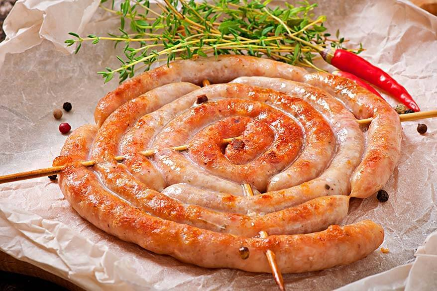 Luganega sausage - typical food in Basilicata region in Italy