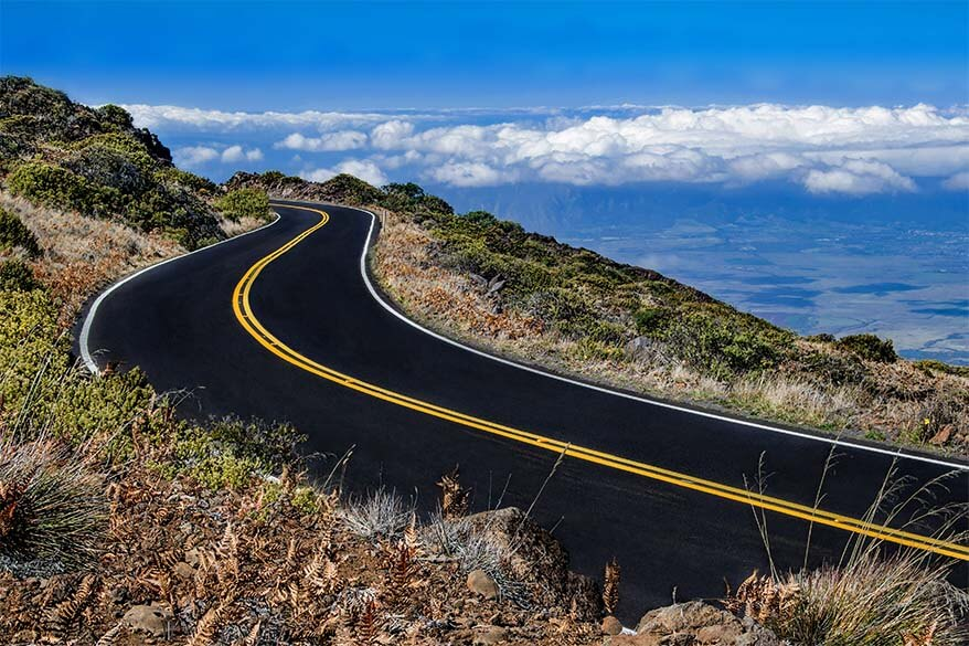 Maui mountain road at Mt Haleakala