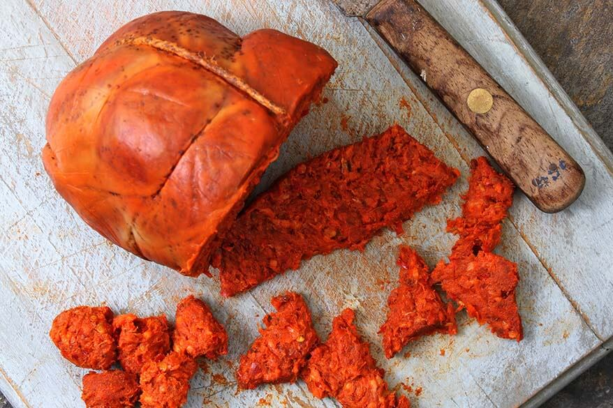 Nduja - traditional sausage from Calabria region in Italy
