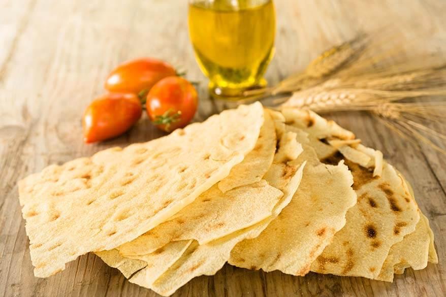 Pane Carasau or Carta di Musica - traditional bread in Sardinia