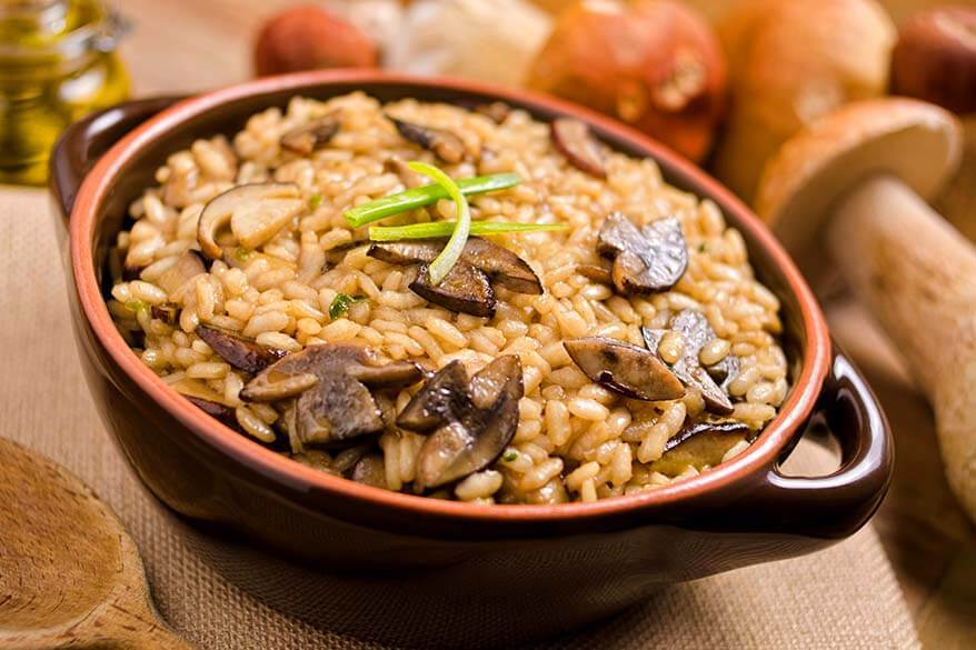 Risotto ai porcini - traditional food in Italy's Piedmont region