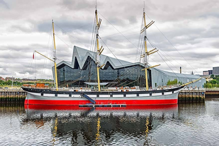 Riverside Museum and the Tall Ship of Riverside in Glasgow