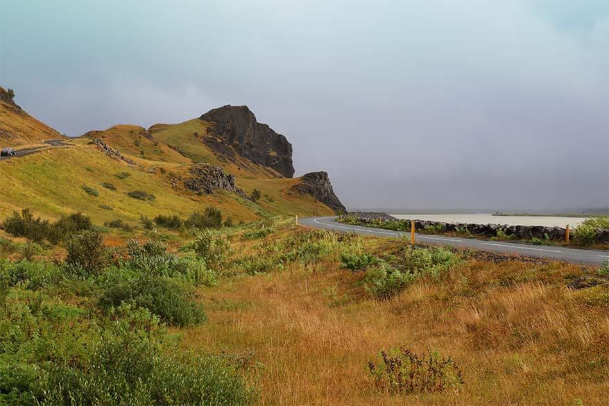 Scenery along Road 32 Þjórsárdalsvegur in Iceland