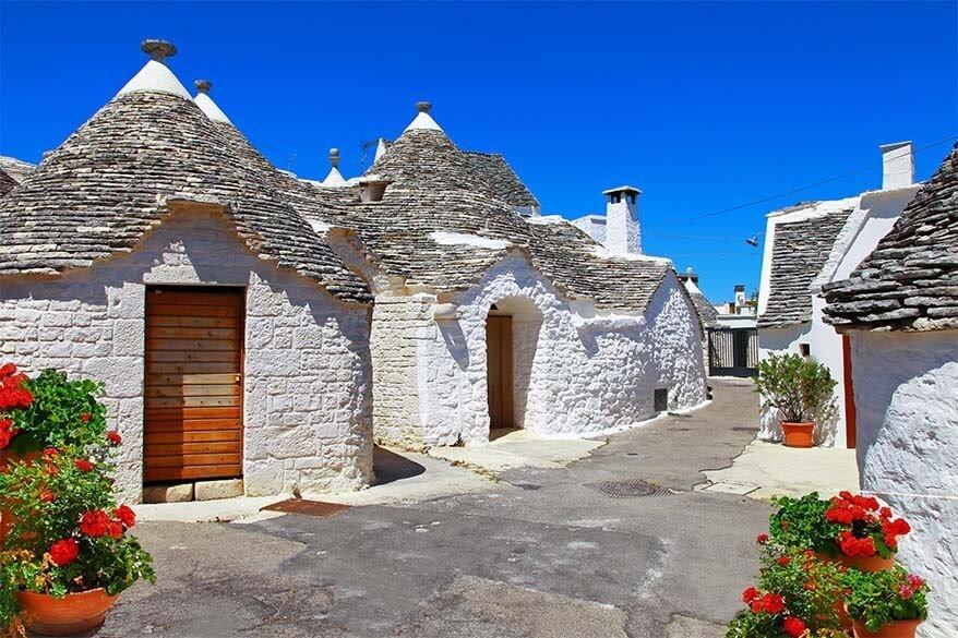 Trulli houses in Puglia region in Italy