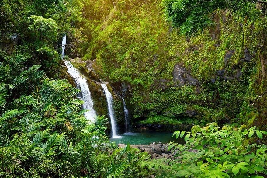 Upper Waikani Falls at Road to Hana in Maui