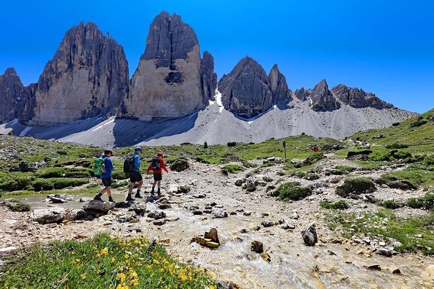 Crossing a river on the Tre Cime di Lavaredo hike