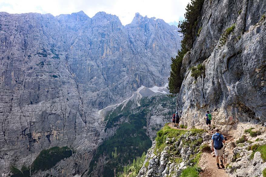 Dangerous section of Lake Sorapis hike