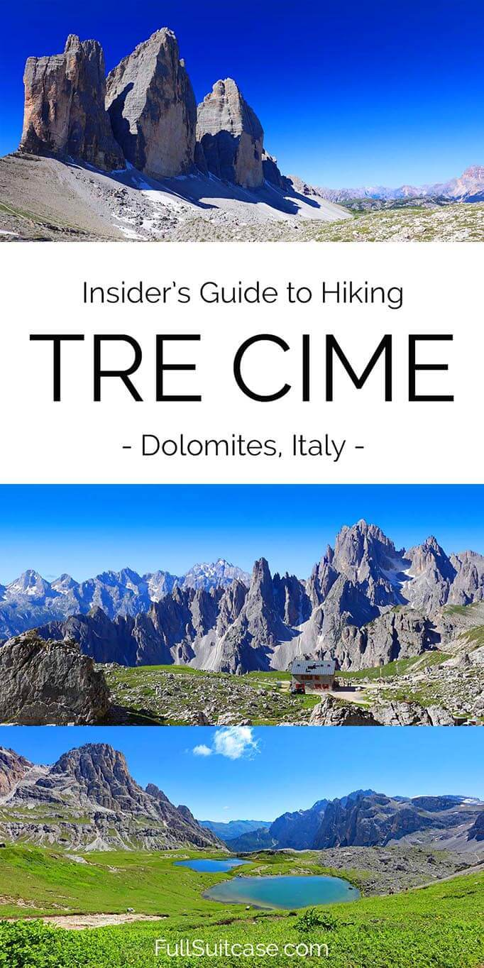 Hiking Tre Cime loop trail in the Dolomites, Italy