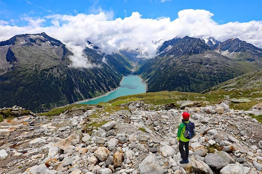 Hiking in Zillertal at Schlegeis Lake