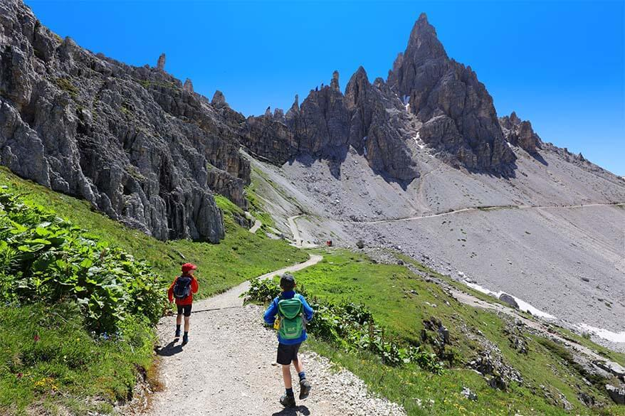 Hiking in the Dolomites with children - Tre Cime trail