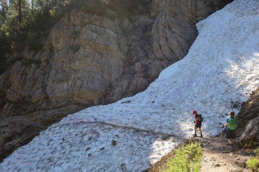 Hiking through snow - Lake Sorapis hike in the beginning of July