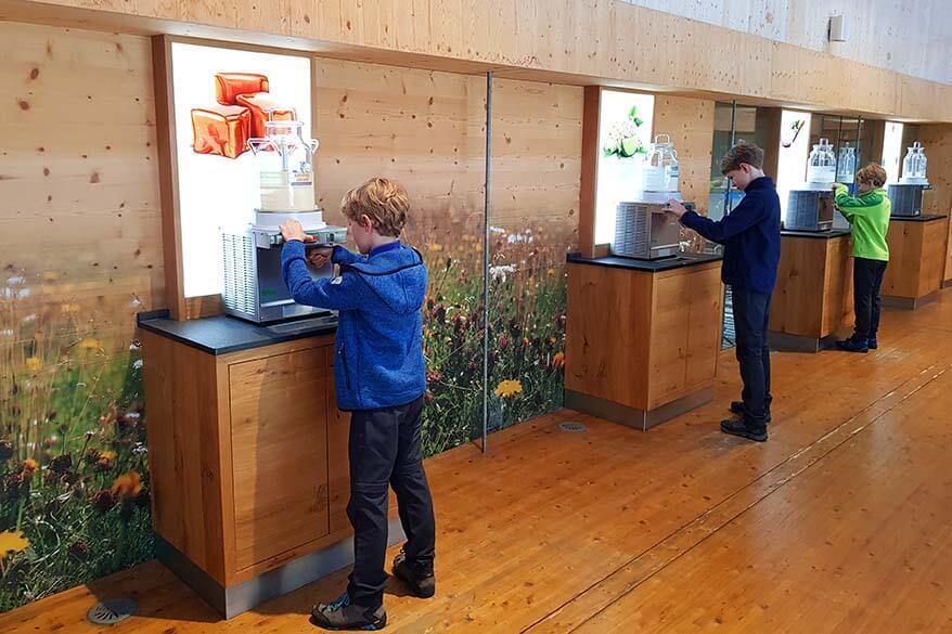 Kids tasting yogurt at ErlebnisSennerei Zillertal