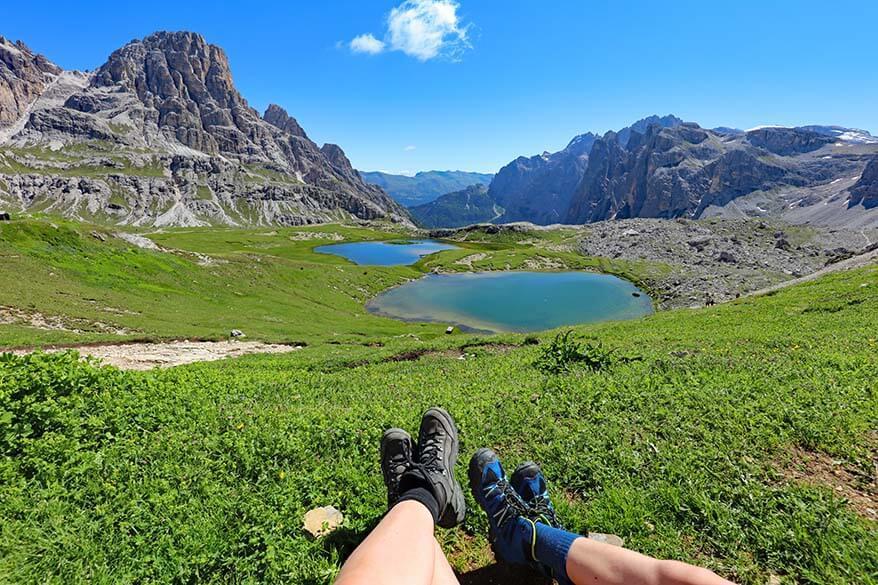 Laghi dei Piani lakes at Rifugio Locatelli - a great short detour when hiking the Tre Cime loop