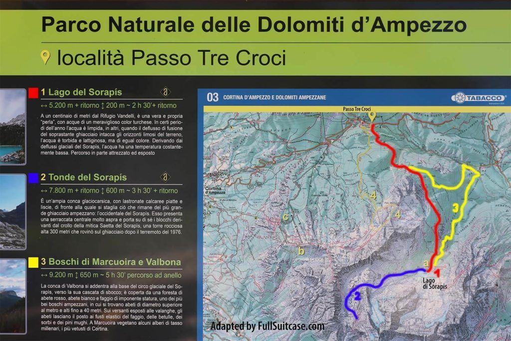Lago di Sorapis hiking map