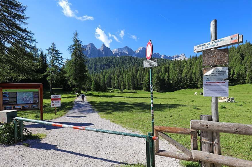 Lake Sorapis hike starting point